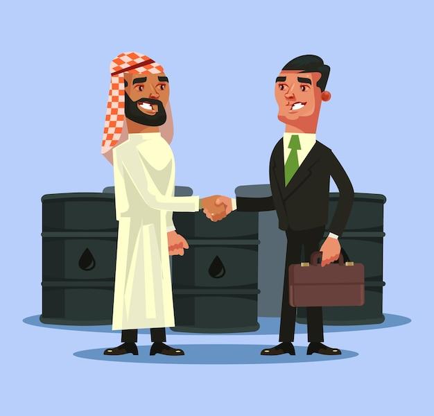 Contratto di affare dell'uomo d'affari arabo ed europeo e stringe la mano concetto di oro nero di petrolio