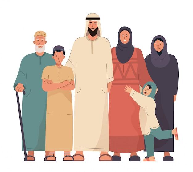 Ritratto di famiglia araba. nonni, genitori e figli nell'illustrazione piana del fumetto