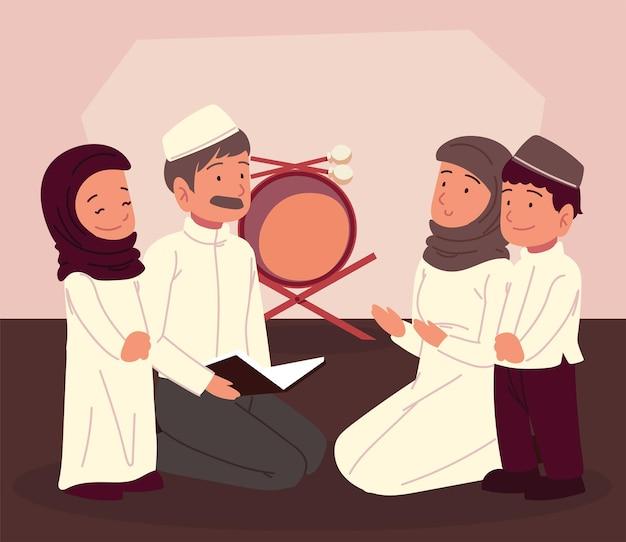 Famiglia araba che studia la cultura musulmana del corano
