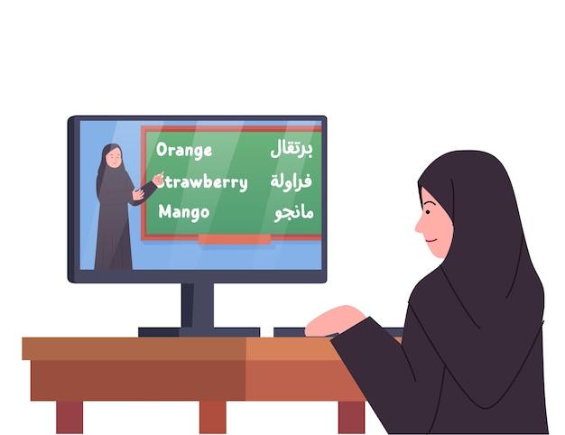 I bambini arabi studiano online guardando la lezione dell'insegnante
