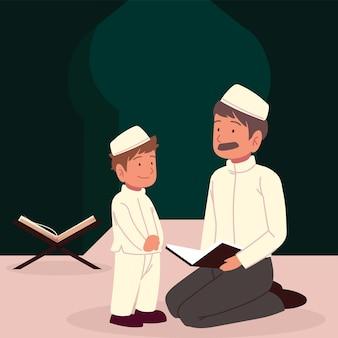 Ragazzo arabo dell'uomo con il fumetto del corano