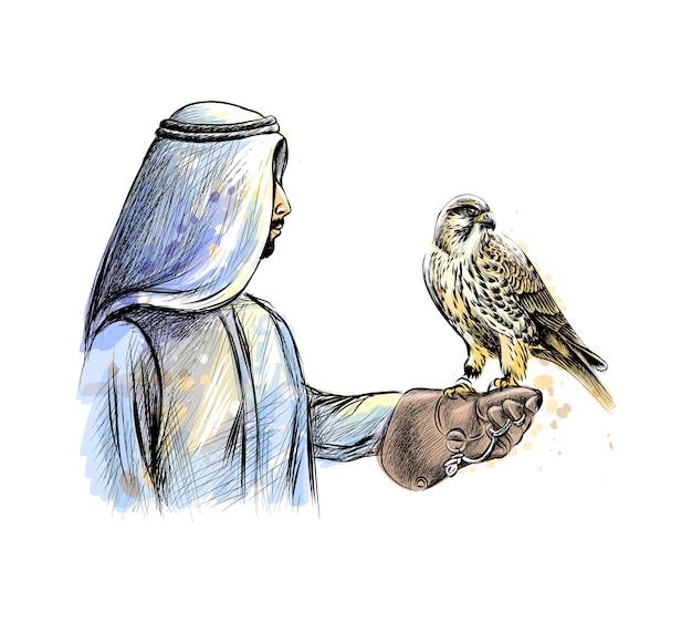 Uomo arabo con un falco da una spruzzata di acquerello, schizzo disegnato a mano. illustrazione di vernici