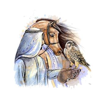 Uomo arabo con un falco e un cavallo da una spruzzata di acquerello, schizzo disegnato a mano. illustrazione di vernici