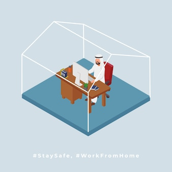 L'uomo arabo lavora dalla casa isometrica