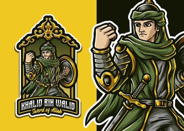 Illustrazione della mascotte del guerriero arabo musulmano