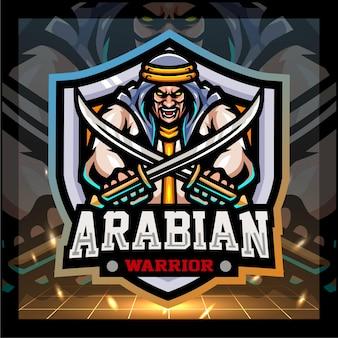 Disegno del logo esport della mascotte del guerriero arabo