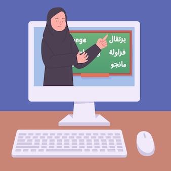 Insegnante della donna araba che dà l'illustrazione piana della classe di lezione online