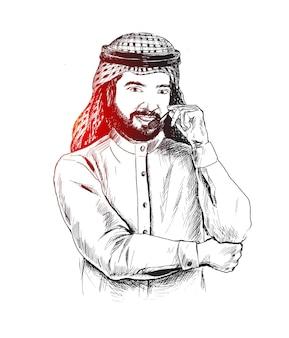 Uomo d'affari arabo che utilizza le cuffie call center assistenza clienti help desk