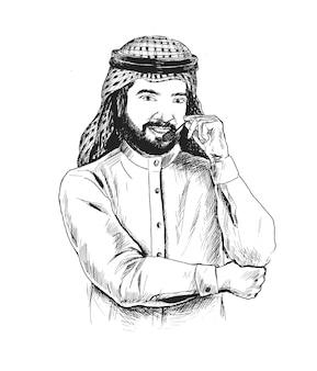Uomo d'affari arabo che utilizza l'auricolare call center