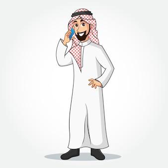 Personaggio dei cartoni animati di uomo d'affari arabo in abiti tradizionali, parlando al telefono cellulare e in piedi su sfondo bianco