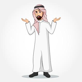 Personaggio dei cartoni animati di uomo d'affari arabo in abiti tradizionali con gesti confusi su priorità bassa bianca