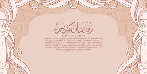 Calligrafia araba ramadan kareem biglietto di auguri con illustrazione disegnata a mano di ornamento islamico Vettore Premium