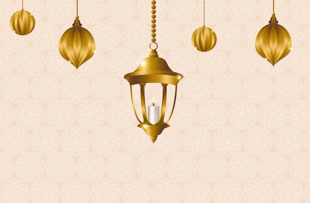 Calligrafia araba per il ramadan, con lanterne e arti di taglio della carta