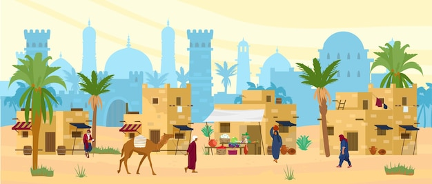 Paesaggio del deserto arabo con case e persone tradizionali in mattoni di fango.