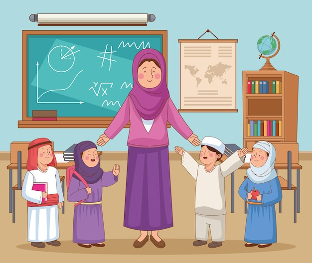 Insegnante femminile arabo con i bambini