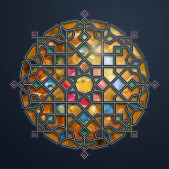Motivo geometrico arabo - ornamento del cerchio marocchino