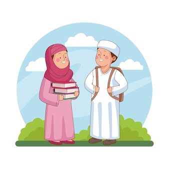 Studenti arabi ragazza e ragazzo