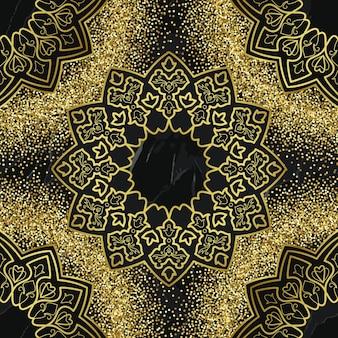 Modello senza cuciture dorato arabo su sfondo di marmo nero ripeti la carta da parati per la stampa tessile