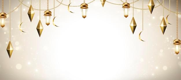 Design di banner vacanza araba con lanterne dorate incandescente