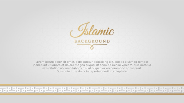 Sfondo di cornice di bordo di lusso bianco elegante islamico arabo