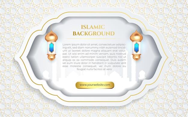 Banner di ornamento di lusso bianco elegante islamico arabo con silhouette di moschea e laterna di luce blu 3d