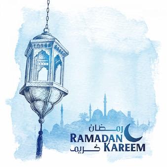 Saluto di ramadan kareem di schizzo arabo lanterna