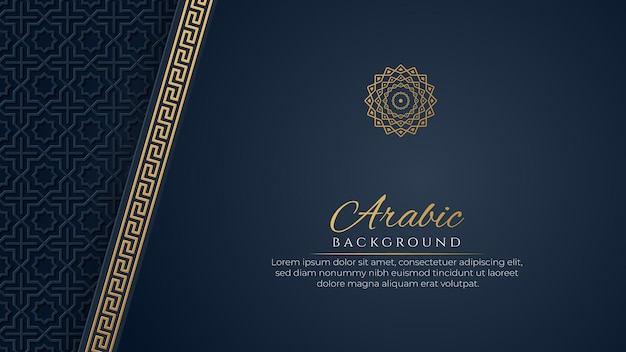 Sfondo blu di lusso arabo con motivo islamico e ornamento decorativo
