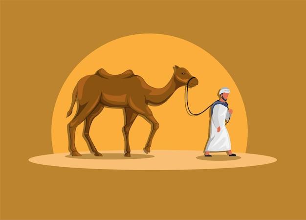 Uomo arabo che cammina con il cammello nell'illustrazione della cultura del medio oriente della sabbia del dessert