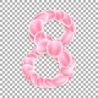 Numero arabo otto, dai petali rosa.