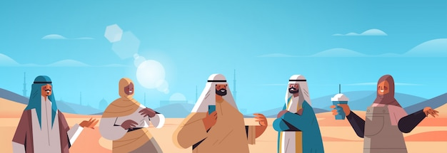 Popolo arabo che cammina nel deserto felici amici arabi in abiti tradizionali ramadan kareem mese arabo paesaggio orizzontale ritratto illustrazione