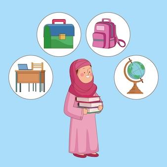 Ragazza studentessa araba con rifornimenti