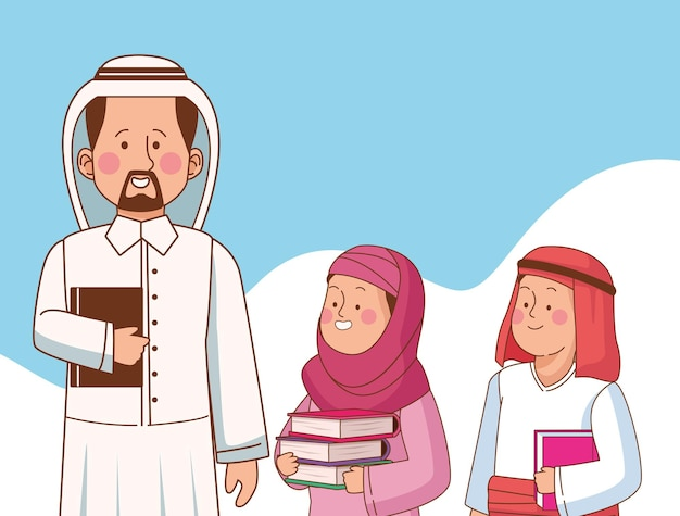 Insegnante arabo in piedi