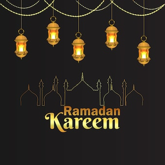 Lanterna araba di vettore del festival e del fondo islamici di ramadan kareem