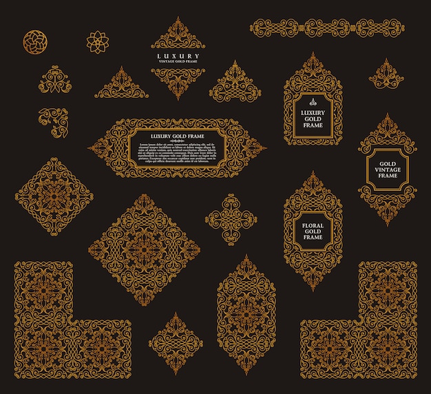 Insieme arabo di vettore delle linee cornici art design