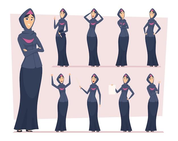 Donna araba. ragazze d'affari musulmane saudite in vari personaggi vettore etnico orientale persone. carattere della donna musulmana, illustrazione della ragazza di affari del fumetto saudita