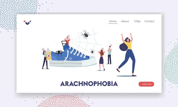Modello di pagina di destinazione dell'aracnofobia. piccoli personaggi giovani spaventati hanno paura di enormi ragni. problema mentale, le persone hanno paura degli insetti spaventosi e urlano in preda al panico e allo shock. fumetto illustrazione vettoriale
