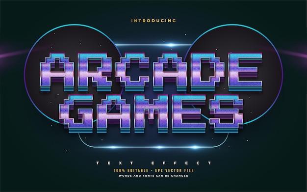 Stile di testo di giochi arcade in gradiente colorato con effetto in rilievo. effetto stile testo modificabile