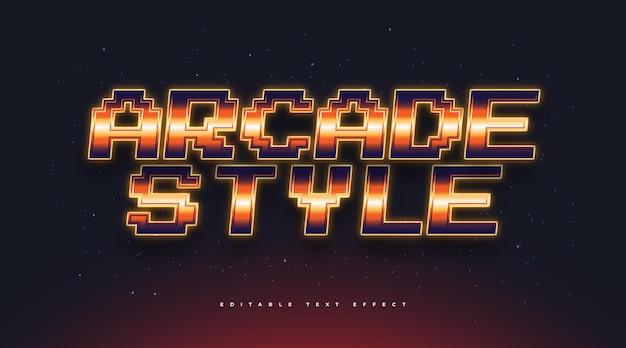 Stile di testo arcade con effetto arancione brillante. effetto stile testo modificabile