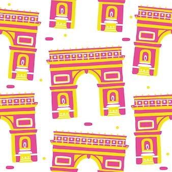 Arco di trionfo seamless pattern in stile design piatto