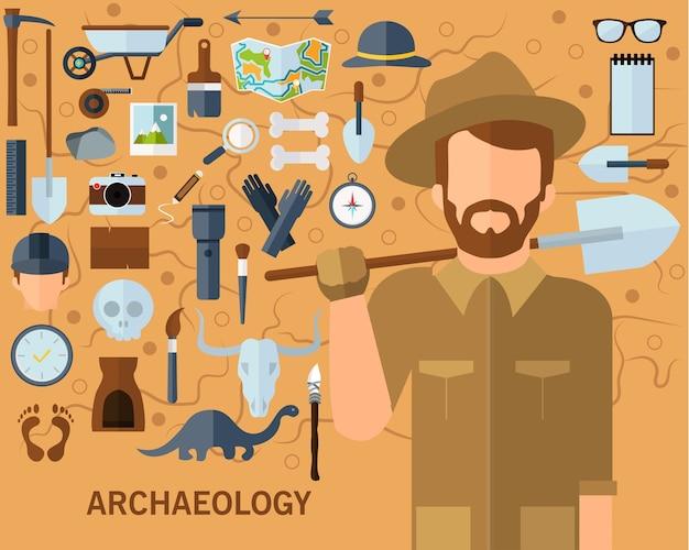 Concetto di fondo archeologico. icone piatte. Vettore Premium