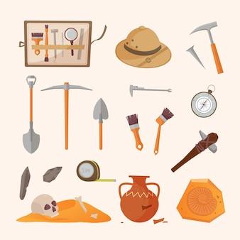 Set di strumenti e reperti archeologici. pennelli strumenti per scavare tesori storici cappello da sole metro a nastro per misurare il territorio antiche anfore e strumenti popoli primitivi. artefatti vettoriali.