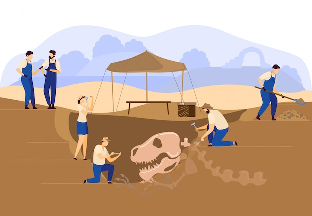 Scavo paleontologo di archeologi o terreno di scavo con teschio di dinosauro e scheletro illustrazione di scoperta.