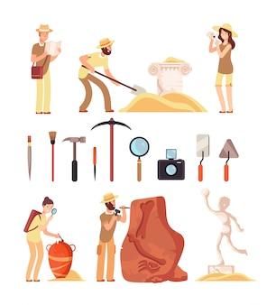 Archeologia. personaggi archeologi, strumenti paleontologici e manufatti di storia antica. insieme isolato fumetto di vettore