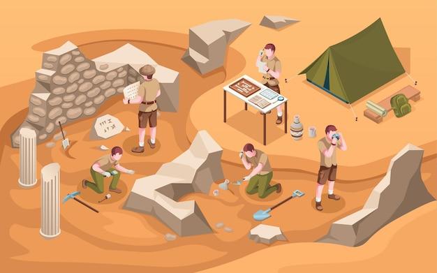 Scavo isometrico di archeologia o archeologo al lavoro lavoro di archeologia o archeologo vicino