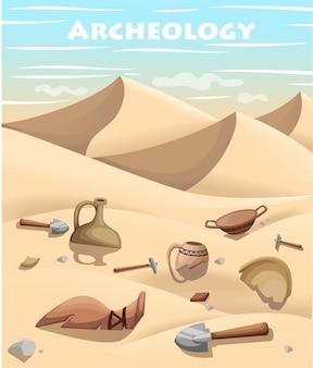 Archeologia e paleontologia concetto elemento di scavo archeologico. gli archeologi di storia antica scoprono l'illustrazione dei manufatti antichi