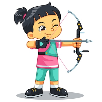 Archer girl aiming target.