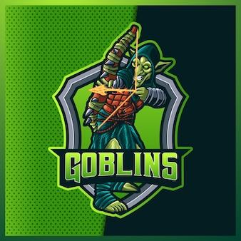 Archer goblins esport e design del logo della mascotte sportiva