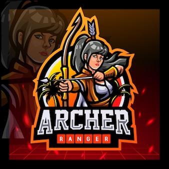 Design del logo esport della mascotte dell'arciere