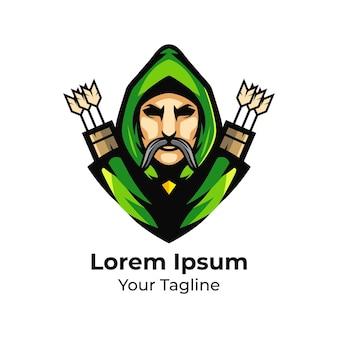 Illustrazione vettoriale di arciere mascotte logo design