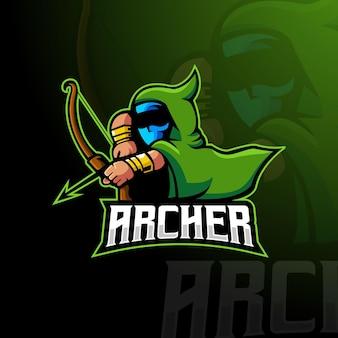 Vettore di design del logo della mascotte dell'arciere con uno stile di illustrazione moderno per giochi, squadre o sport